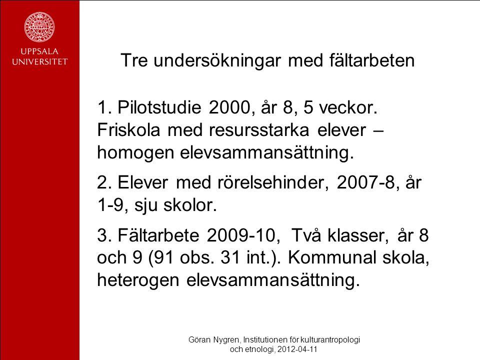 Tre undersökningar med fältarbeten 1. Pilotstudie 2000, år 8, 5 veckor. Friskola med resursstarka elever – homogen elevsammansättning. 2. Elever med r