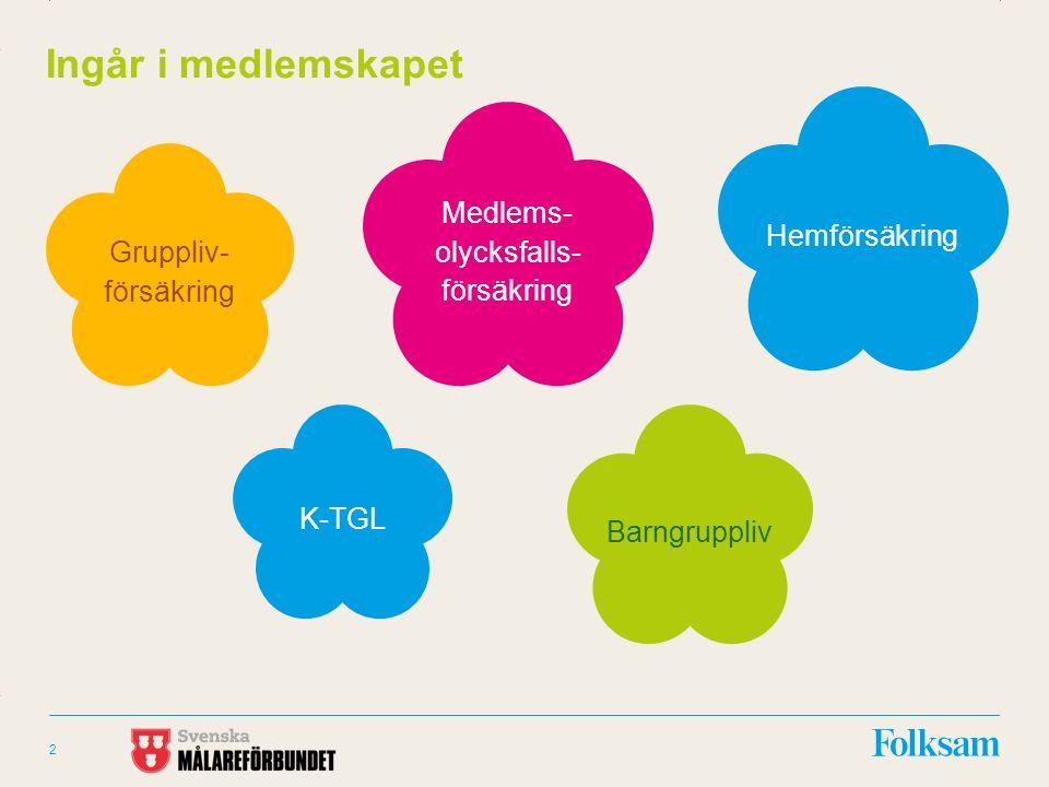 Innehållsyta Rubrikyta 2 Ingår i medlemskapet Medlems- olycksfalls- försäkring Hemförsäkring K-TGL Barngruppliv Gruppliv- försäkring