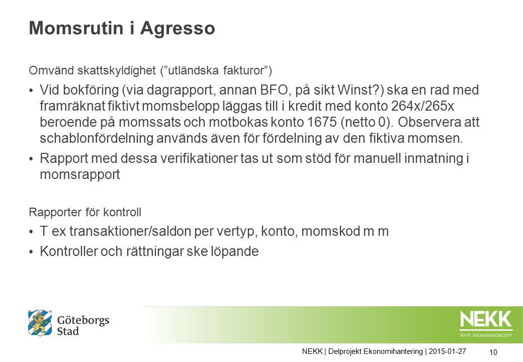 Momsrutin i Agresso Omvänd skattskyldighet ( utländska fakturor ) Vid bokföring (via dagrapport, annan BFO, på sikt Winst ) ska en rad med framräknat fiktivt momsbelopp läggas till i kredit med konto 264x/265x beroende på momssats och motbokas konto 1675 (netto 0).