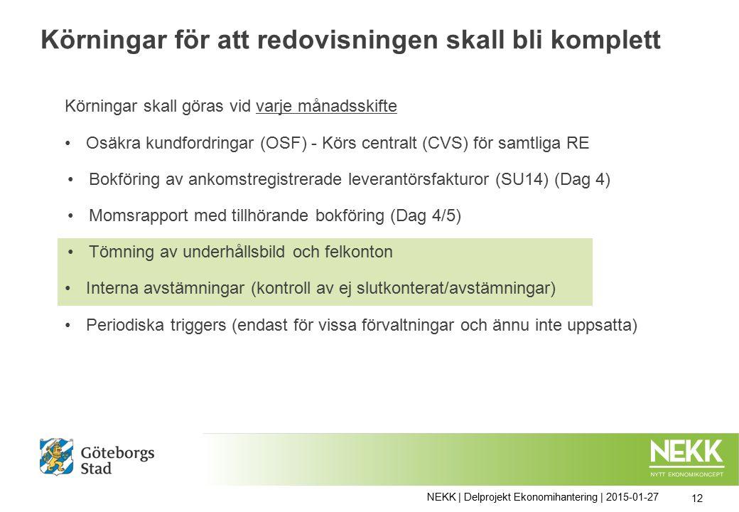 Körningar för att redovisningen skall bli komplett NEKK | Delprojekt Ekonomihantering | 2015-01-27 12 Körningar skall göras vid varje månadsskifte Osäkra kundfordringar (OSF) - Körs centralt (CVS) för samtliga RE Bokföring av ankomstregistrerade leverantörsfakturor (SU14) (Dag 4) Momsrapport med tillhörande bokföring (Dag 4/5) Tömning av underhållsbild och felkonton Interna avstämningar (kontroll av ej slutkonterat/avstämningar) Periodiska triggers (endast för vissa förvaltningar och ännu inte uppsatta)