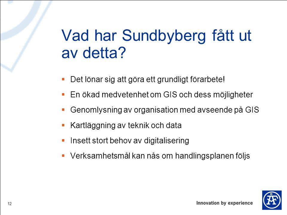 Vad har Sundbyberg fått ut av detta?  Det lönar sig att göra ett grundligt förarbete!  En ökad medvetenhet om GIS och dess möjligheter  Genomlysnin