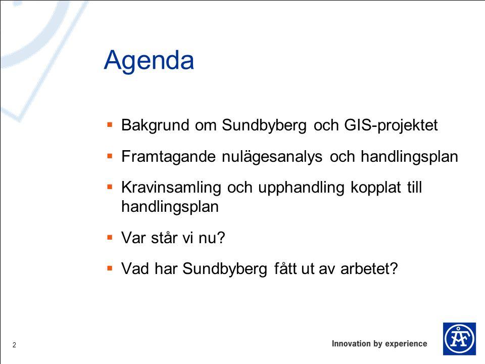 Agenda  Bakgrund om Sundbyberg och GIS-projektet  Framtagande nulägesanalys och handlingsplan  Kravinsamling och upphandling kopplat till handlings