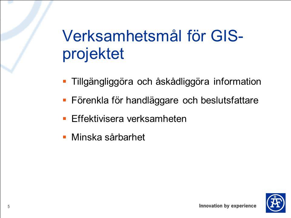 Verksamhetsmål för GIS- projektet  Tillgängliggöra och åskådliggöra information  Förenkla för handläggare och beslutsfattare  Effektivisera verksam