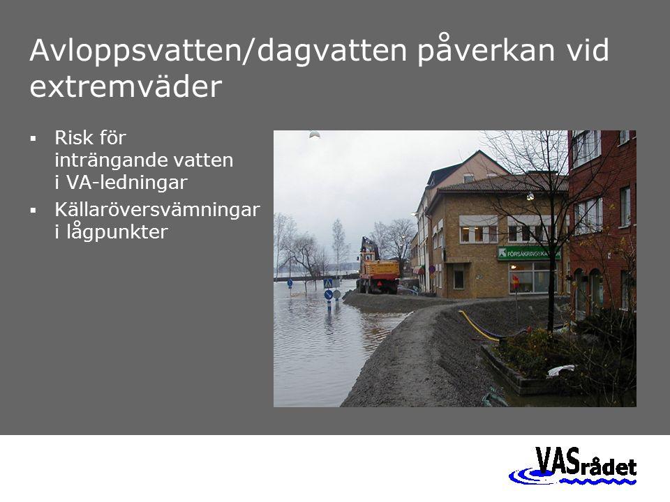Avloppsvatten/dagvatten påverkan vid extremväder  Risk för inträngande vatten i VA-ledningar  Källaröversvämningar i lågpunkter