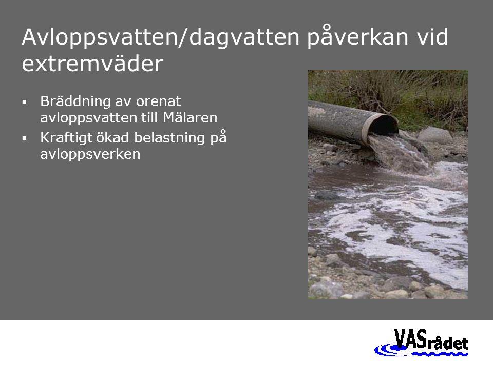 Avloppsvatten/dagvatten påverkan vid extremväder  Bräddning av orenat avloppsvatten till Mälaren  Kraftigt ökad belastning på avloppsverken