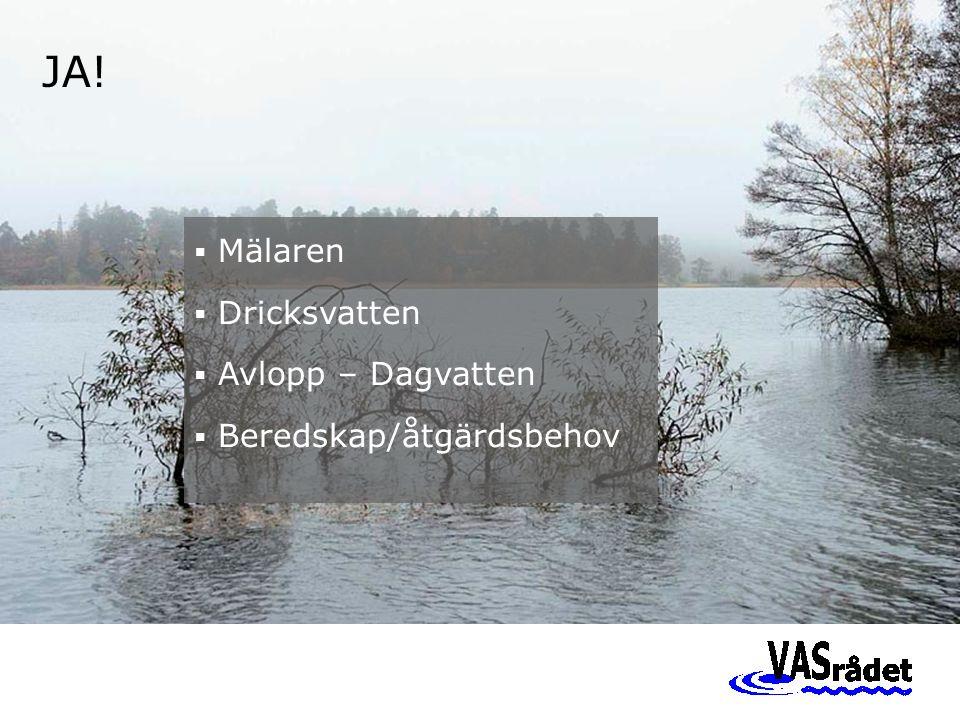JA!  Mälaren  Dricksvatten  Avlopp – Dagvatten  Beredskap/åtgärdsbehov