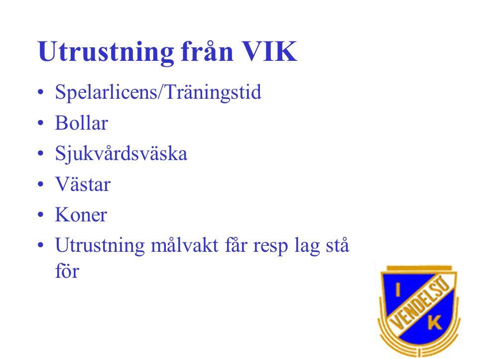 Utrustning från VIK Spelarlicens/Träningstid Bollar Sjukvårdsväska Västar Koner Utrustning målvakt får resp lag stå för