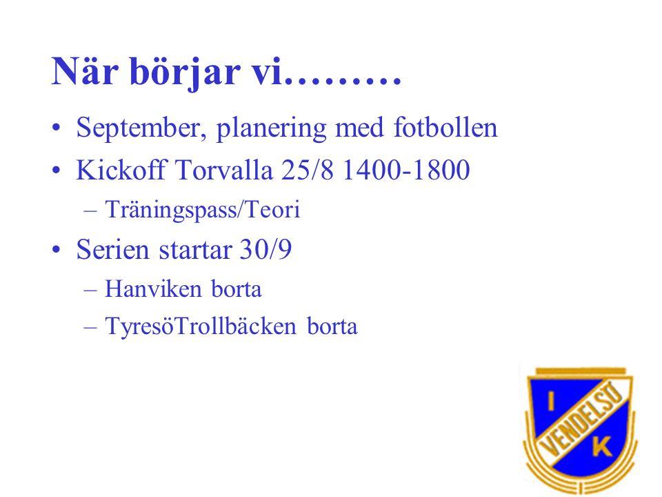 När börjar vi……… September, planering med fotbollen Kickoff Torvalla 25/8 1400-1800 –Träningspass/Teori Serien startar 30/9 –Hanviken borta –TyresöTrollbäcken borta