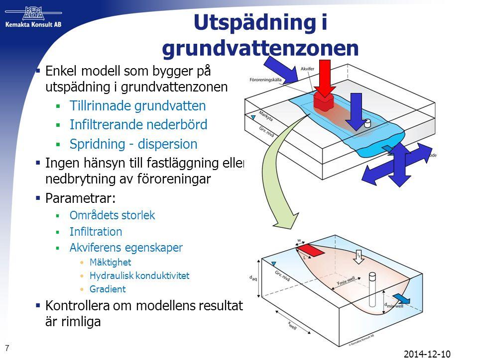 Utspädning i grundvattenzonen  Enkel modell som bygger på utspädning i grundvattenzonen  Tillrinnade grundvatten  Infiltrerande nederbörd  Spridning - dispersion  Ingen hänsyn till fastläggning eller nedbrytning av föroreningar  Parametrar:  Områdets storlek  Infiltration  Akviferens egenskaper Mäktighet Hydraulisk konduktivitet Gradient  Kontrollera om modellens resultat är rimliga 7 2014-12-10