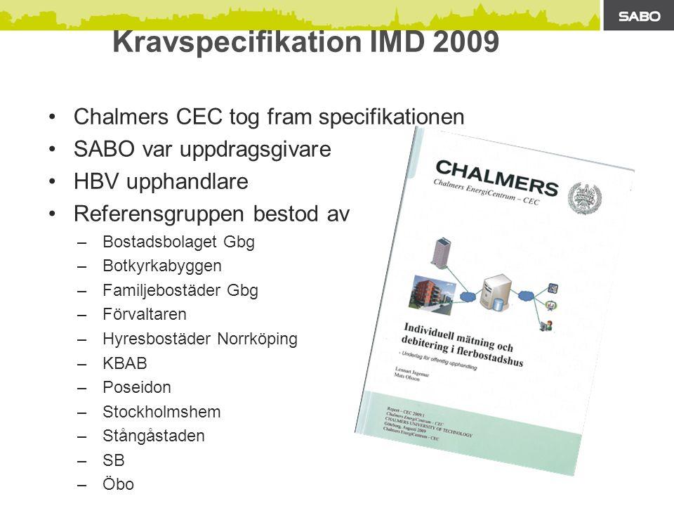 Kravspecifikation IMD 2009 Chalmers CEC tog fram specifikationen SABO var uppdragsgivare HBV upphandlare Referensgruppen bestod av –Bostadsbolaget Gbg –Botkyrkabyggen –Familjebostäder Gbg –Förvaltaren –Hyresbostäder Norrköping –KBAB –Poseidon –Stockholmshem –Stångåstaden –SB –Öbo