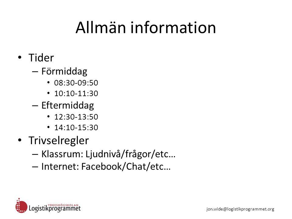 Kurspresentation E-post Internet Word PowerPointExcel jon.wide@logistikprogrammet.org