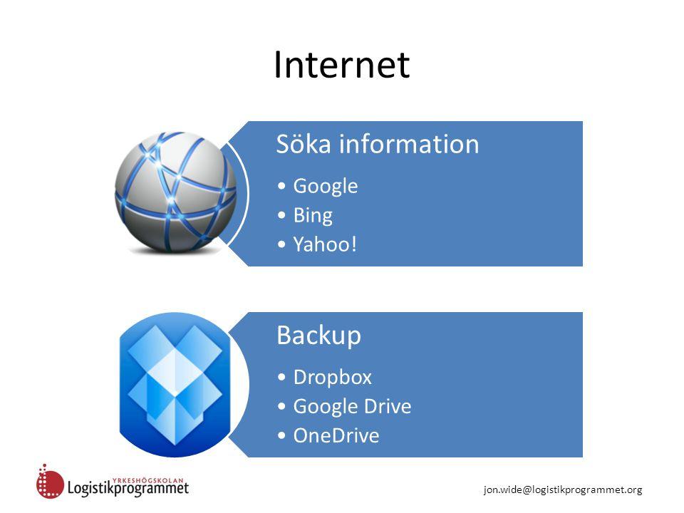 Internet Söka information Google Bing Yahoo! Backup Dropbox Google Drive OneDrive jon.wide@logistikprogrammet.org