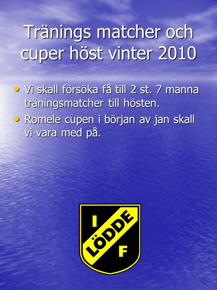 Tränings matcher och cuper höst vinter 2010 Vi skall försöka få till 2 st.