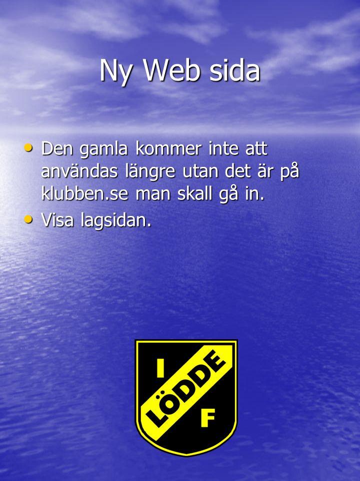 Ny Web sida Den gamla kommer inte att användas längre utan det är på klubben.se man skall gå in.