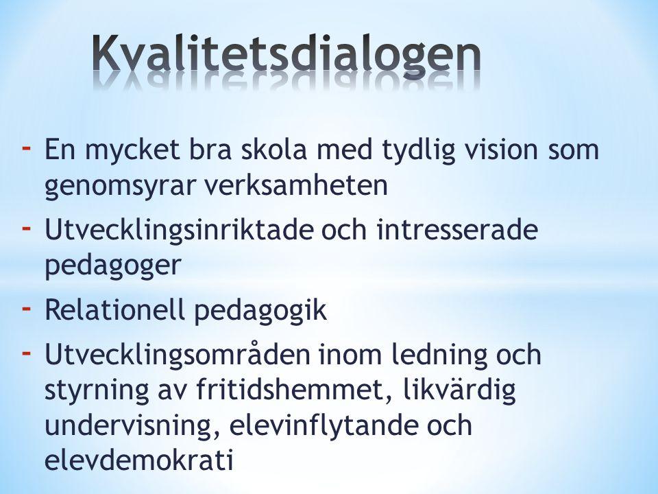 - En mycket bra skola med tydlig vision som genomsyrar verksamheten - Utvecklingsinriktade och intresserade pedagoger - Relationell pedagogik - Utveck
