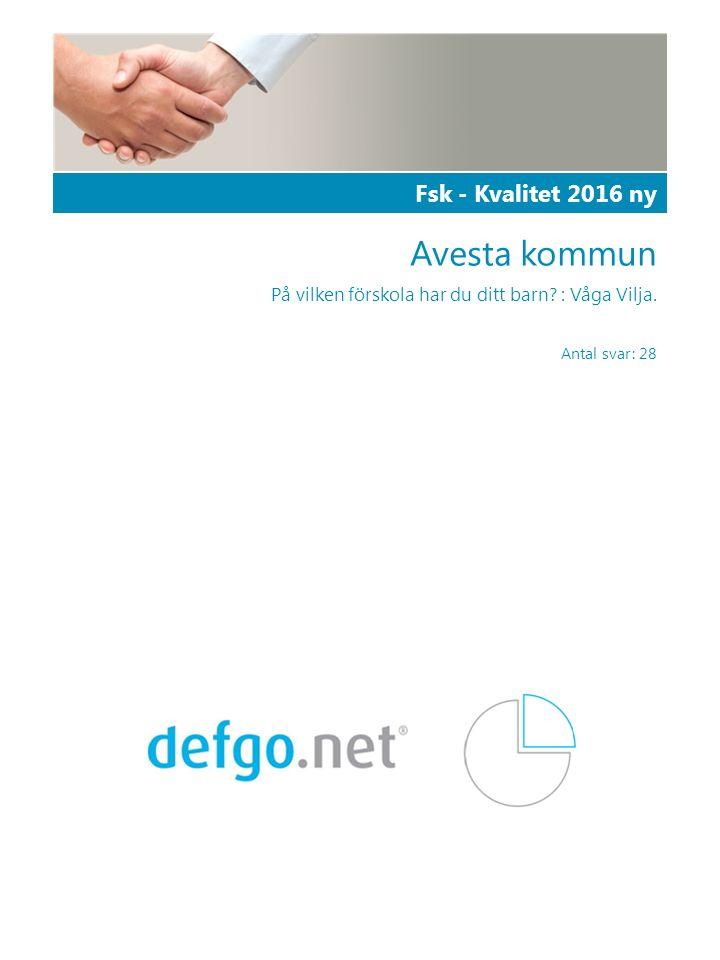 powered by defgo | info@defgo.com | www.defgo.com | 2 | Fsk - Kvalitet 2016 ny Den här undersökningen har totalt 28 respondenter och en svarsfrekvens på 59,9%.