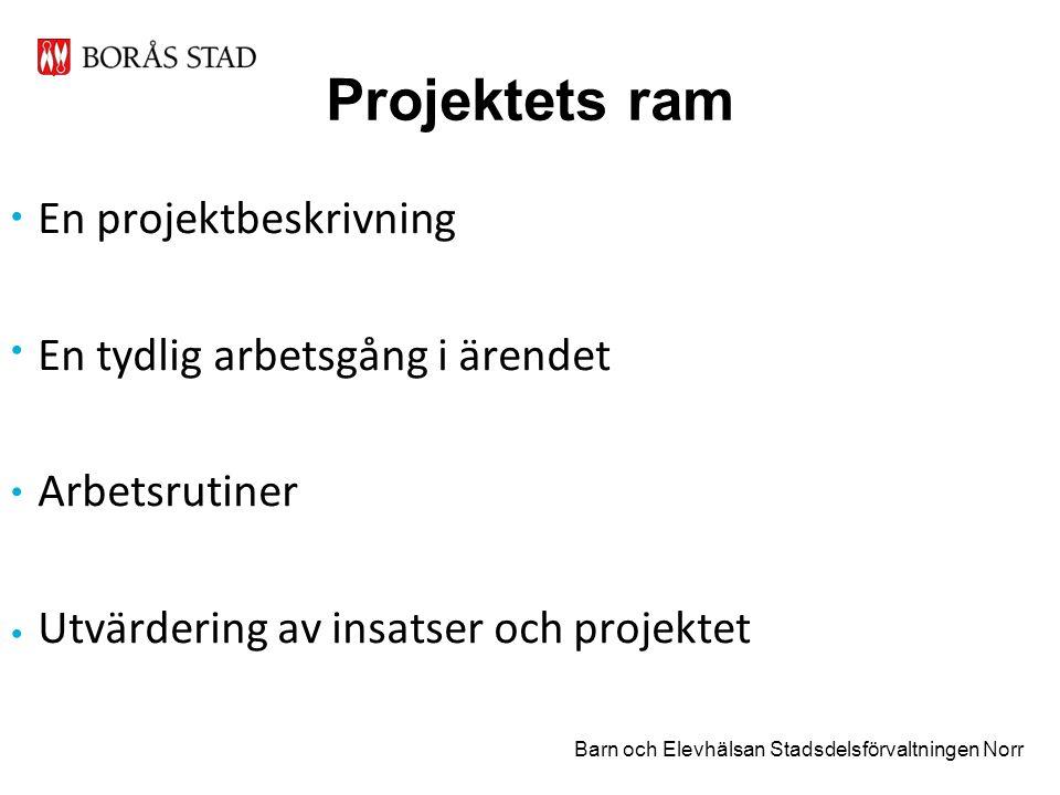 Projektets ram En projektbeskrivning En tydlig arbetsgång i ärendet Arbetsrutiner Utvärdering av insatser och projektet Barn och Elevhälsan Stadsdelsförvaltningen Norr