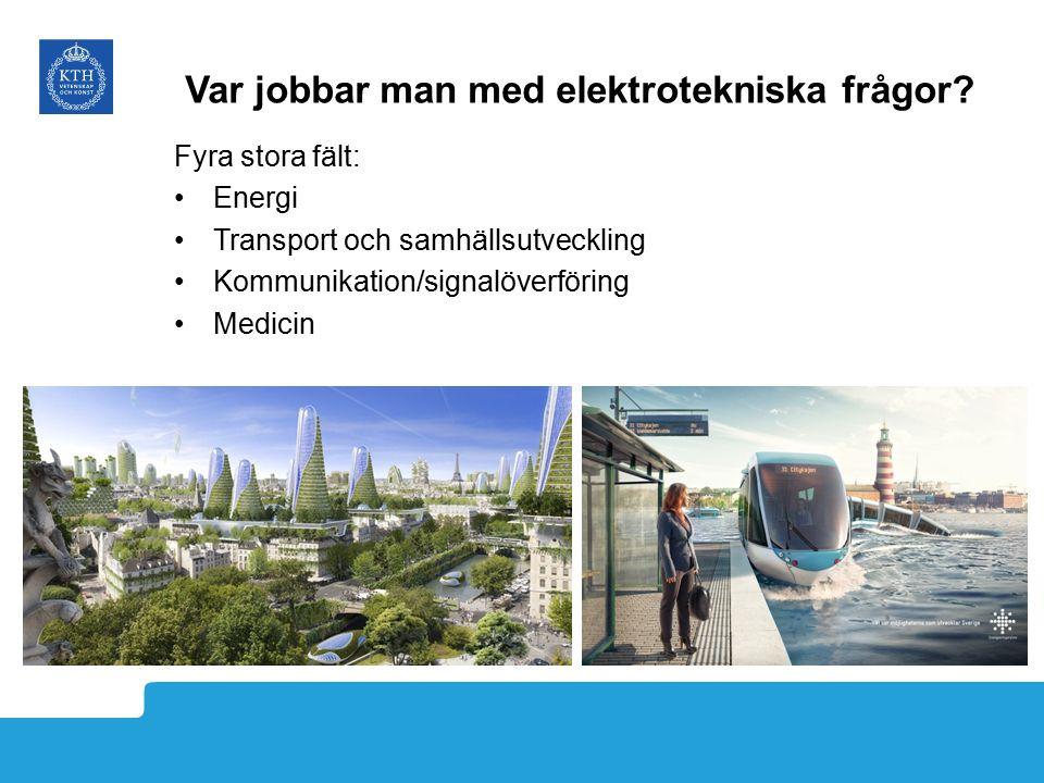 Var jobbar man med elektrotekniska frågor? Fyra stora fält: Energi Transport och samhällsutveckling Kommunikation/signalöverföring Medicin