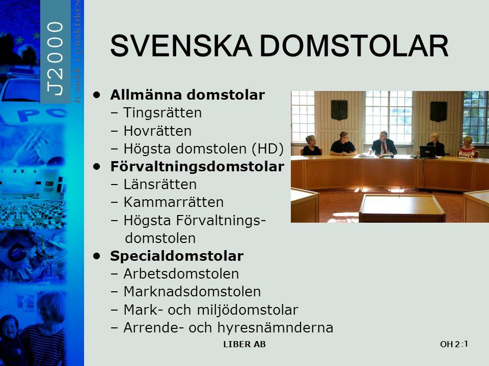 LIBER AB OH 2 SVENSKA DOMSTOLAR Allmänna domstolar – Tingsrätten – Hovrätten – Högsta domstolen (HD) Förvaltningsdomstolar – Länsrätten – Kammarrätten