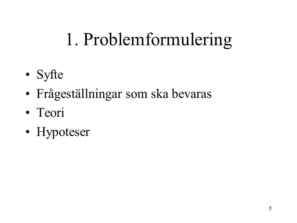 5 1. Problemformulering Syfte Frågeställningar som ska bevaras Teori Hypoteser