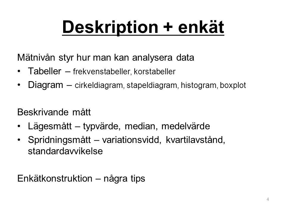 Deskription + enkät Mätnivån styr hur man kan analysera data Tabeller – frekvenstabeller, korstabeller Diagram – cirkeldiagram, stapeldiagram, histogram, boxplot Beskrivande mått Lägesmått – typvärde, median, medelvärde Spridningsmått – variationsvidd, kvartilavstånd, standardavvikelse Enkätkonstruktion – några tips 4