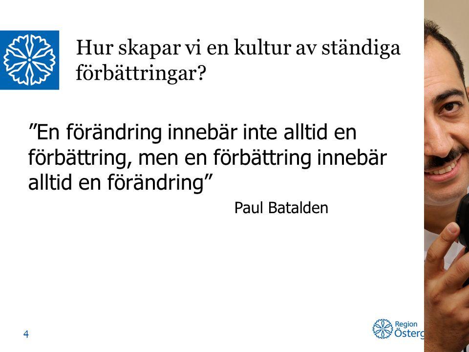 En förändring innebär inte alltid en förbättring, men en förbättring innebär alltid en förändring Paul Batalden Hur skapar vi en kultur av ständiga förbättringar.