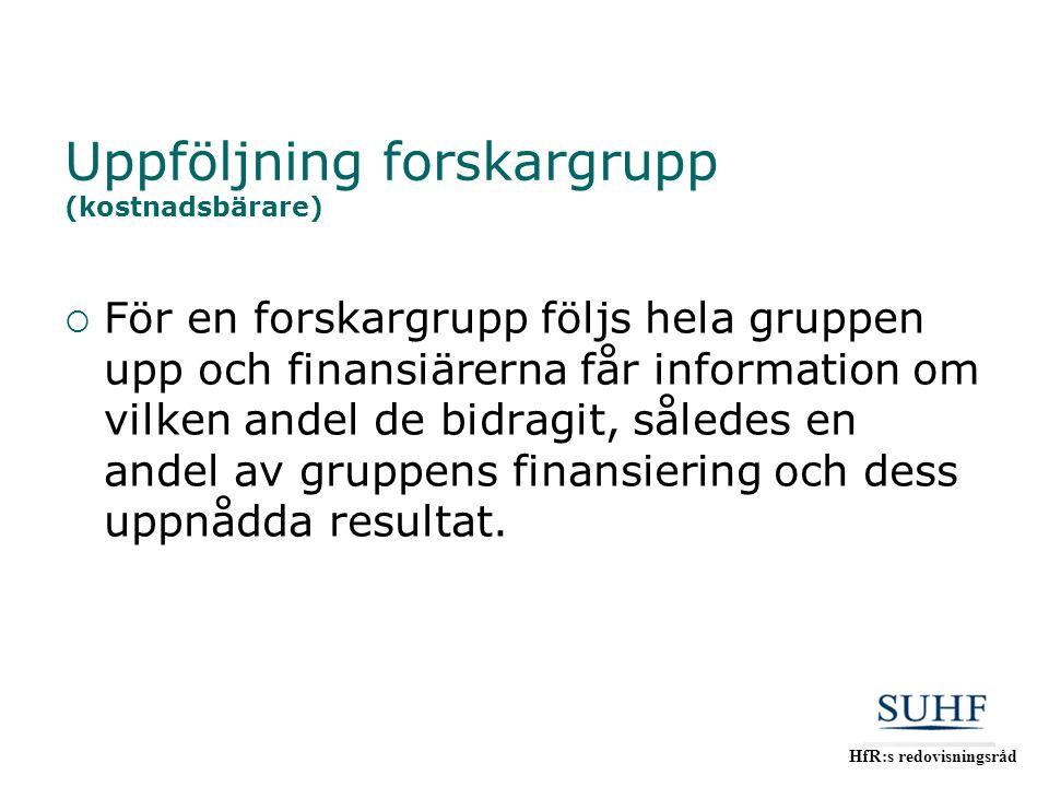 HfR:s redovisningsråd Uppföljning forskargrupp (kostnadsbärare)  För en forskargrupp följs hela gruppen upp och finansiärerna får information om vilk