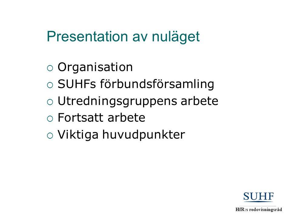HfR:s redovisningsråd Presentation av nuläget  Organisation  SUHFs förbundsförsamling  Utredningsgruppens arbete  Fortsatt arbete  Viktiga huvudp