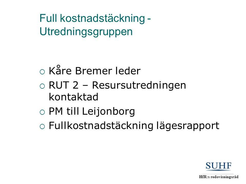 HfR:s redovisningsråd Full kostnadstäckning - Utredningsgruppen  Kåre Bremer leder  RUT 2 – Resursutredningen kontaktad  PM till Leijonborg  Fullk