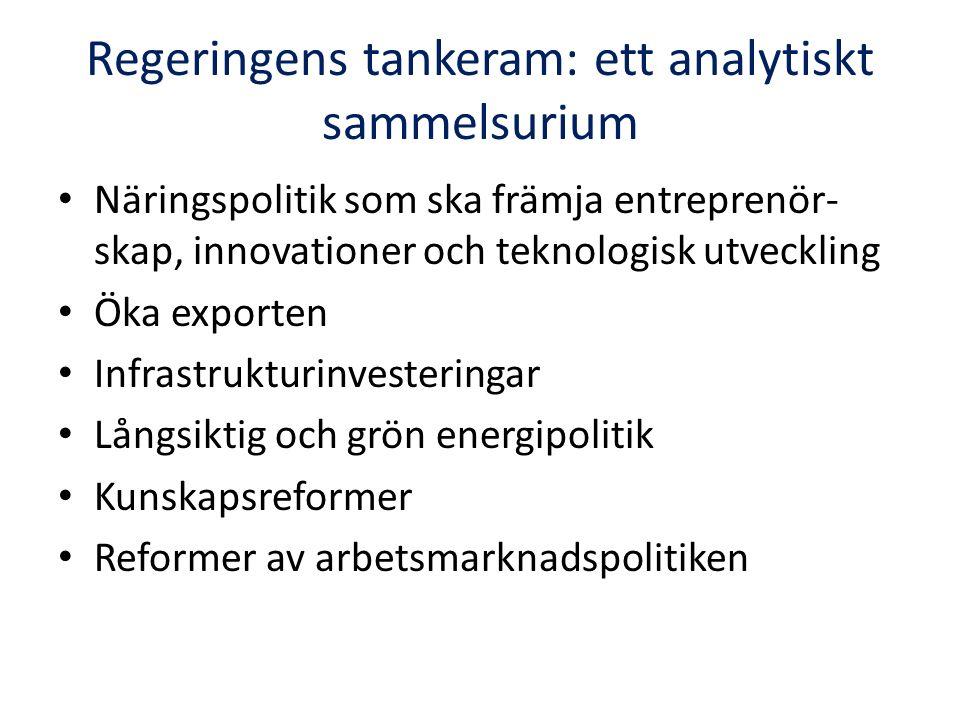 Regeringens tankeram: ett analytiskt sammelsurium Näringspolitik som ska främja entreprenör- skap, innovationer och teknologisk utveckling Öka exporte