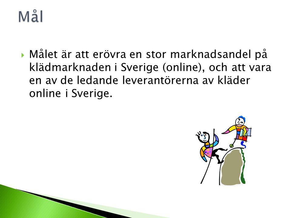 MMålet är att erövra en stor marknadsandel på klädmarknaden i Sverige (online), och att vara en av de ledande leverantörerna av kläder online i Sverige.