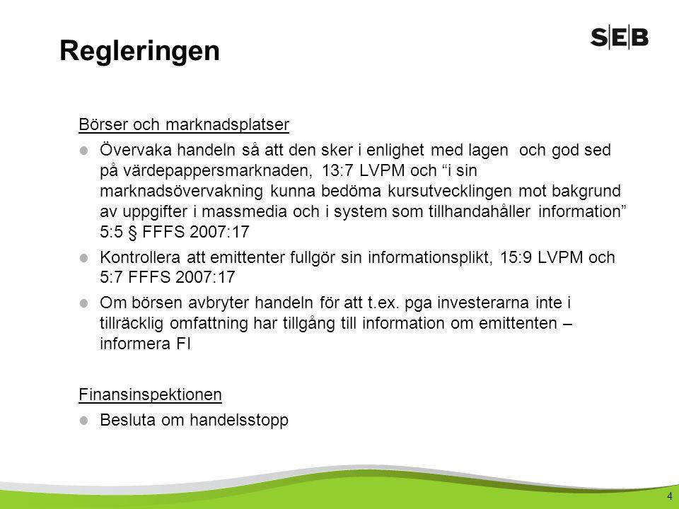 4 Regleringen Börser och marknadsplatser Övervaka handeln så att den sker i enlighet med lagen och god sed på värdepappersmarknaden, 13:7 LVPM och i sin marknadsövervakning kunna bedöma kursutvecklingen mot bakgrund av uppgifter i massmedia och i system som tillhandahåller information 5:5 § FFFS 2007:17 Kontrollera att emittenter fullgör sin informationsplikt, 15:9 LVPM och 5:7 FFFS 2007:17 Om börsen avbryter handeln för att t.ex.