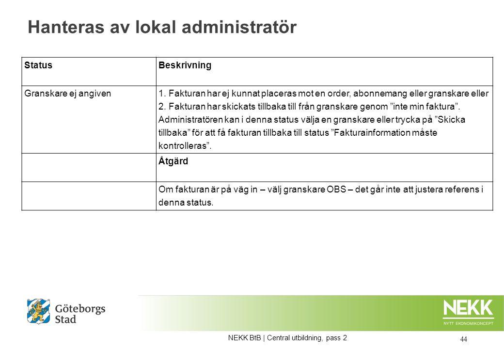 Hanteras av lokal administratör 44 Status Beskrivning Granskare ej angiven 1.