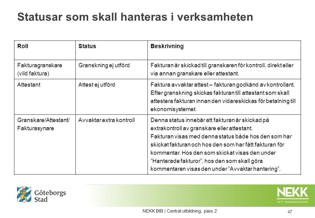 Statusar som skall hanteras i verksamheten 47 Roll StatusBeskrivning Fakturagranskare (vild faktura) Granskning ej utförd Fakturan är skickad till granskaren för kontroll, direkt eller via annan granskare eller attestant.