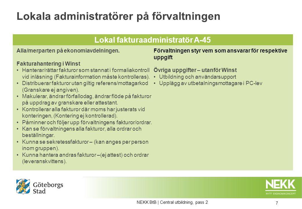 Delegeringar – Listvy för administratör 18 NEKK BtB   Central utbildning, pass 2 Läsbild