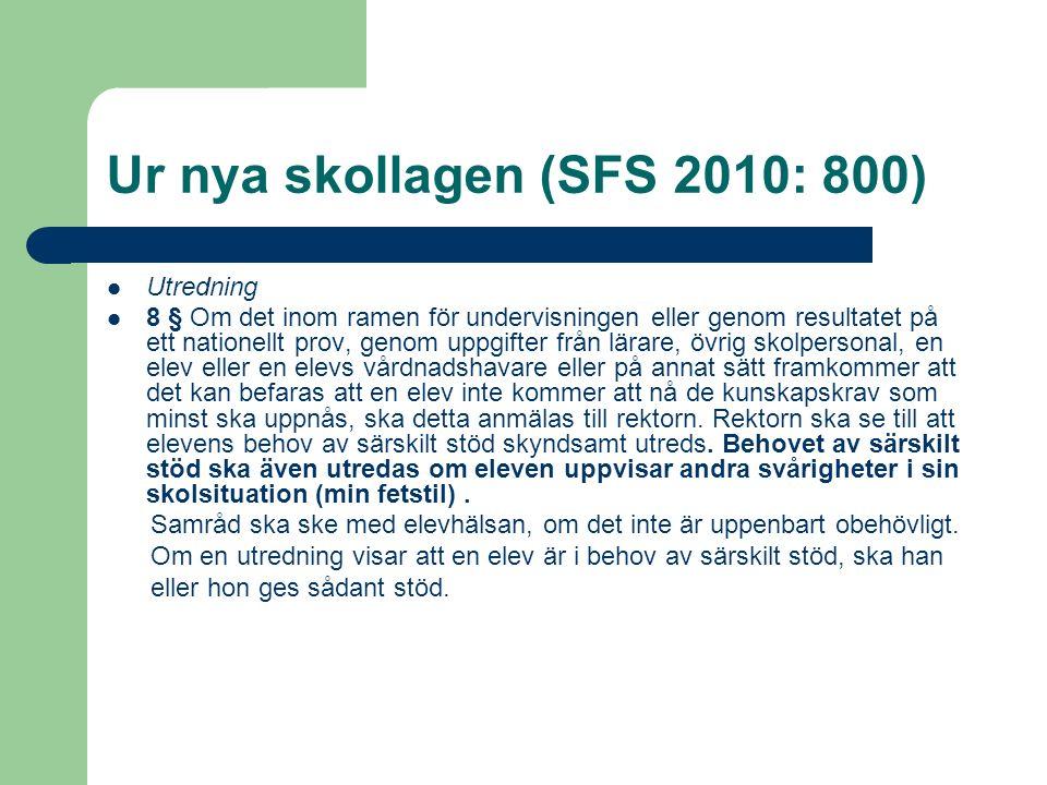 Ur nya skollagen (SFS 2010: 800) Utredning 8 § Om det inom ramen för undervisningen eller genom resultatet på ett nationellt prov, genom uppgifter frå