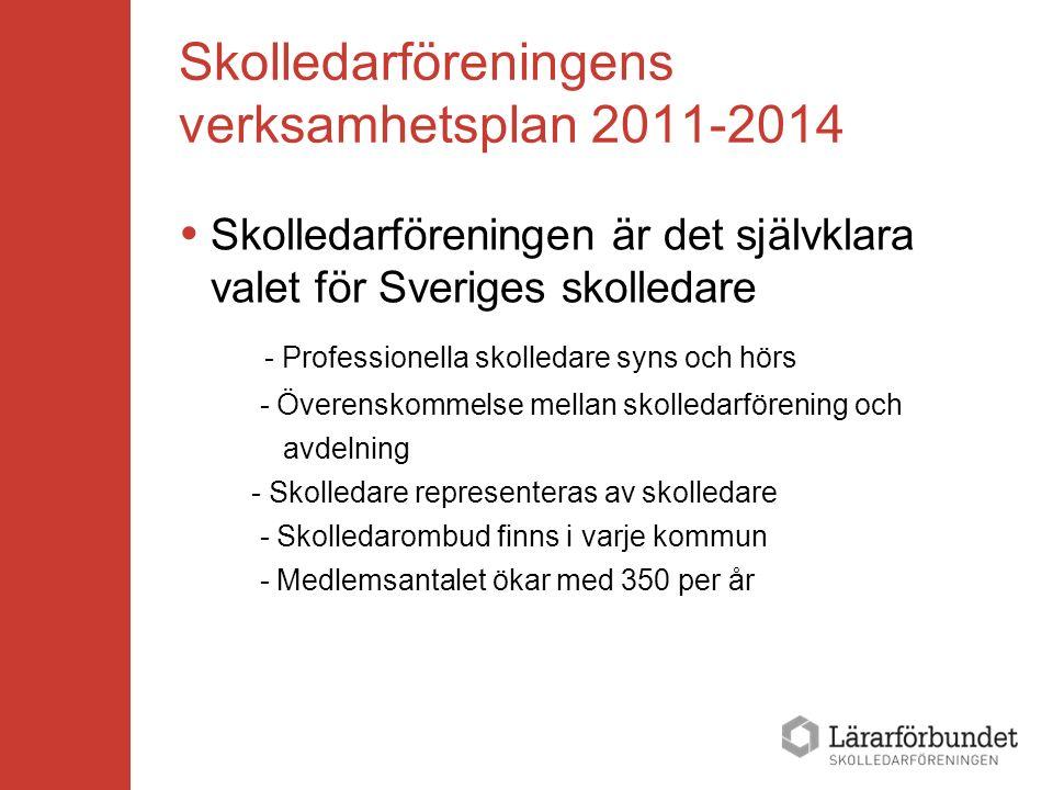 Skolledarföreningens verksamhetsplan 2011-2014  Skolledarföreningen är det självklara valet för Sveriges skolledare - Professionella skolledare syns och hörs - Överenskommelse mellan skolledarförening och avdelning - Skolledare representeras av skolledare - Skolledarombud finns i varje kommun - Medlemsantalet ökar med 350 per år