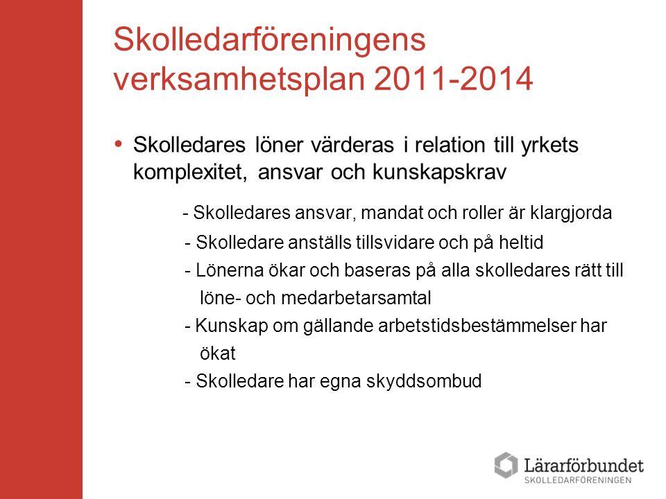 Skolledarföreningens verksamhetsplan 2011-2014  Skolledares löner värderas i relation till yrkets komplexitet, ansvar och kunskapskrav - Skolledares ansvar, mandat och roller är klargjorda - Skolledare anställs tillsvidare och på heltid - Lönerna ökar och baseras på alla skolledares rätt till löne- och medarbetarsamtal - Kunskap om gällande arbetstidsbestämmelser har ökat - Skolledare har egna skyddsombud