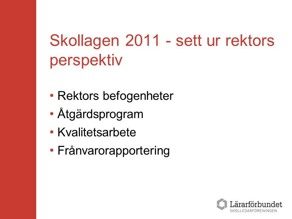 Skollagen 2011 - sett ur rektors perspektiv Rektors befogenheter Åtgärdsprogram Kvalitetsarbete Frånvarorapportering