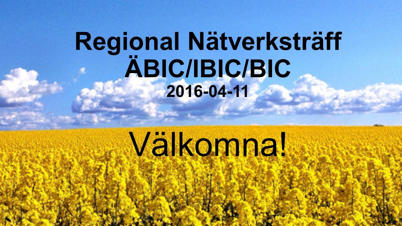 Regional Nätverksträff Ä BIC/IBIC/BIC 2016-04-11 Välkomna!