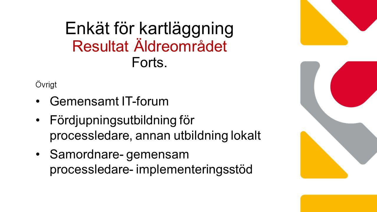 Övrigt Gemensamt IT-forum Fördjupningsutbildning för processledare, annan utbildning lokalt Samordnare- gemensam processledare- implementeringsstöd Enkät för kartläggning Resultat Äldreområdet Forts.