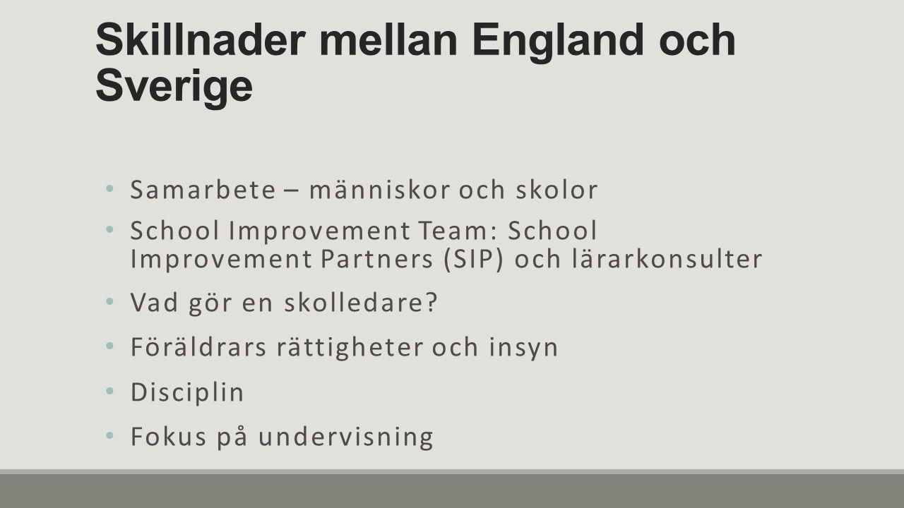 Skillnader mellan England och Sverige Samarbete – människor och skolor School Improvement Team: School Improvement Partners (SIP) och lärarkonsulter Vad gör en skolledare.