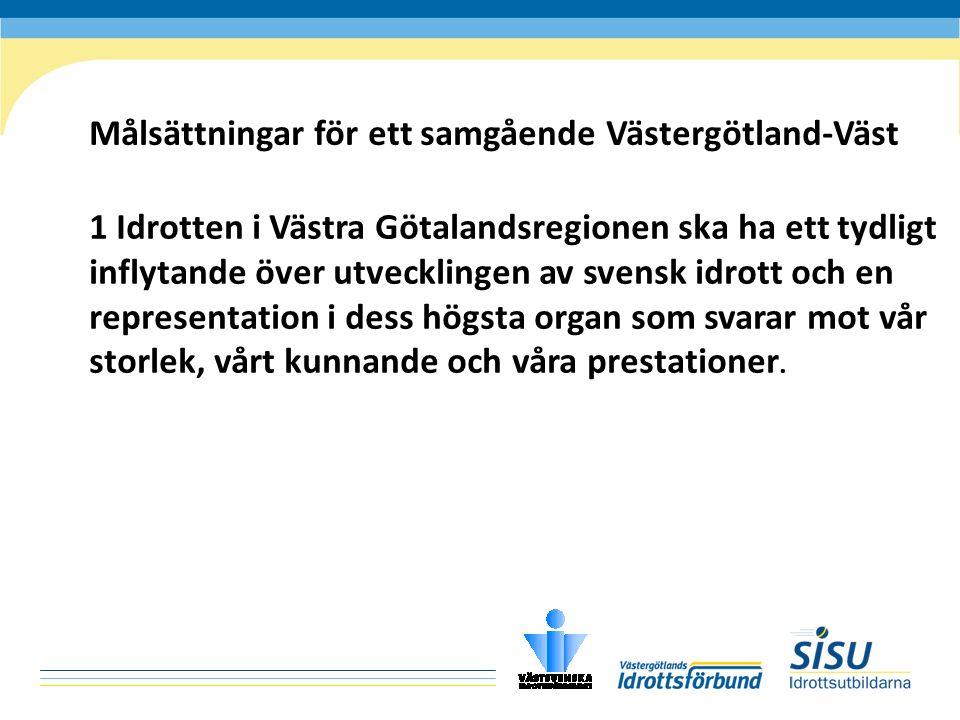 Målsättningar för ett samgående Västergötland-Väst 1 Idrotten i Västra Götalandsregionen ska ha ett tydligt inflytande över utvecklingen av svensk idrott och en representation i dess högsta organ som svarar mot vår storlek, vårt kunnande och våra prestationer.