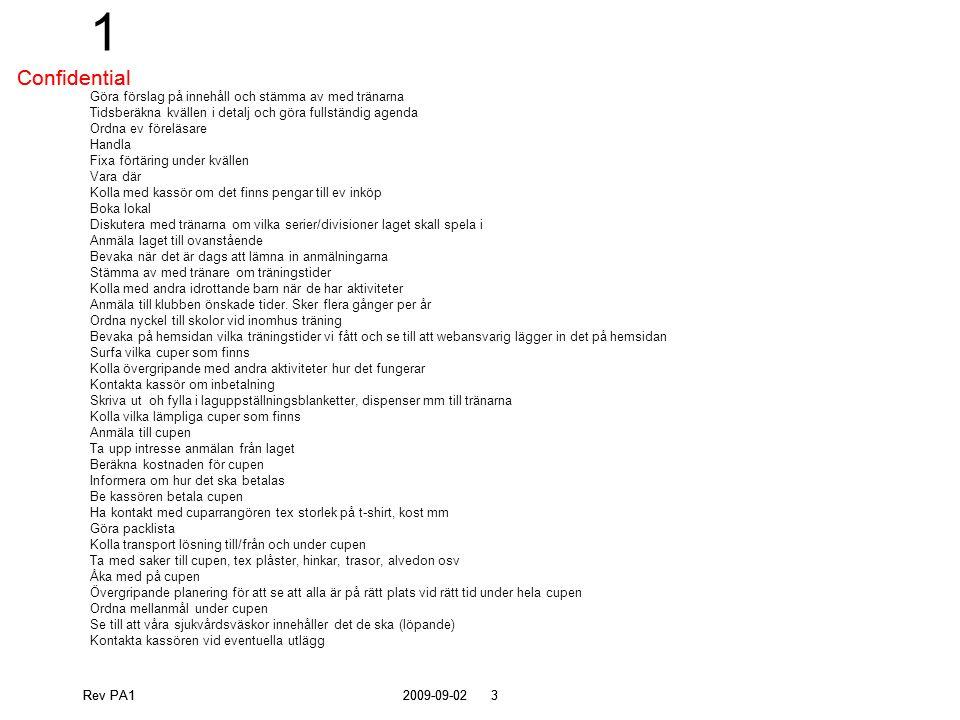 Rev PA12009-09-0224 Confidential Kläder och material Erica Ansvarsområde Kolla klädbehov för laget Ordna sponsor Kolla med klubben vad som gäller Ta upp beställning Ordna provningsmöjligheter Tala om hur det ska betalas Kolla kostnader Övrig materia tex bollar, matchtröjor, reservtröjor, västar