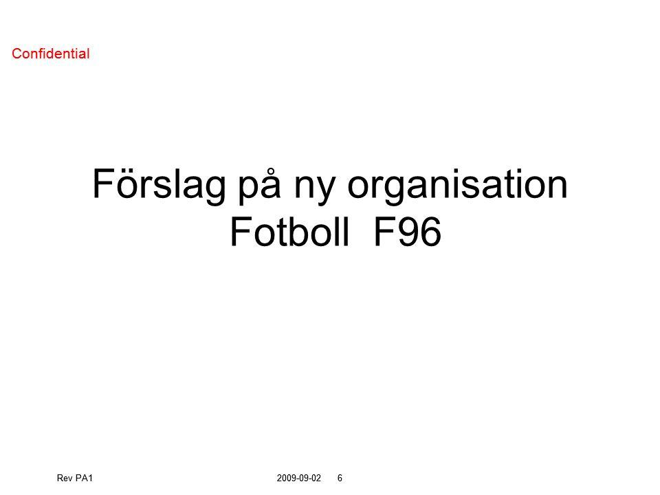 Rev PA12009-09-026 Confidential Rev PA12009-09-026 Confidential Förslag på ny organisation Fotboll F96