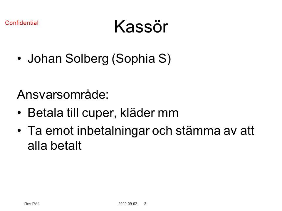 Rev PA12009-09-028 Confidential Kassör Johan Solberg (Sophia S) Ansvarsområde: Betala till cuper, kläder mm Ta emot inbetalningar och stämma av att alla betalt