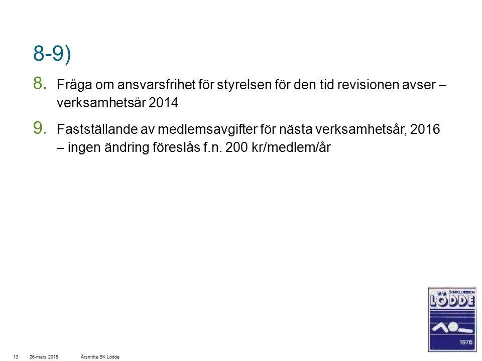 8-9) 8. Fråga om ansvarsfrihet för styrelsen för den tid revisionen avser – verksamhetsår 2014 9.
