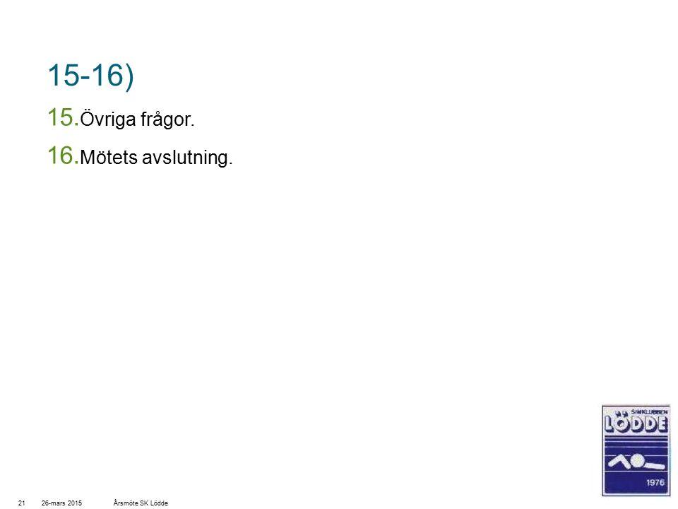 15-16) 15. Övriga frågor. 16. Mötets avslutning. 26-mars 201521Årsmöte SK Lödde