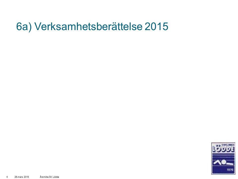 6a) Verksamhetsberättelse 2015 26-mars 20154Årsmöte SK Lödde
