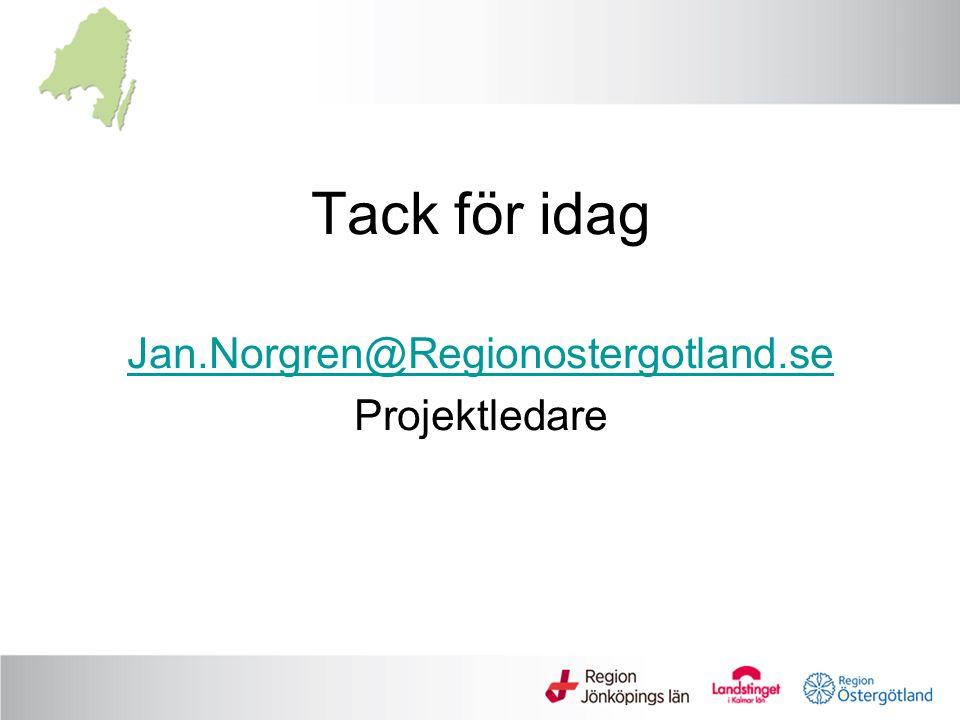 Tack för idag Jan.Norgren@Regionostergotland.se Projektledare